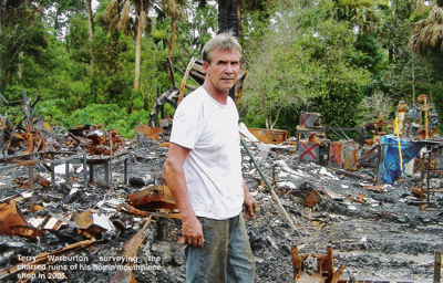 Terry Warburton after the fire